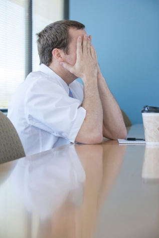 Stressed person in office